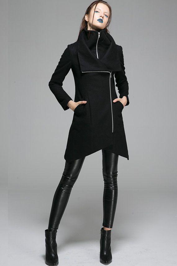 4a2e9bbdb8 blue and gray alsoAsymmetrical Black Coat - Warm Wool Modern Design Winter  Zipper & Cowl Neck Women's Jacket (1363)