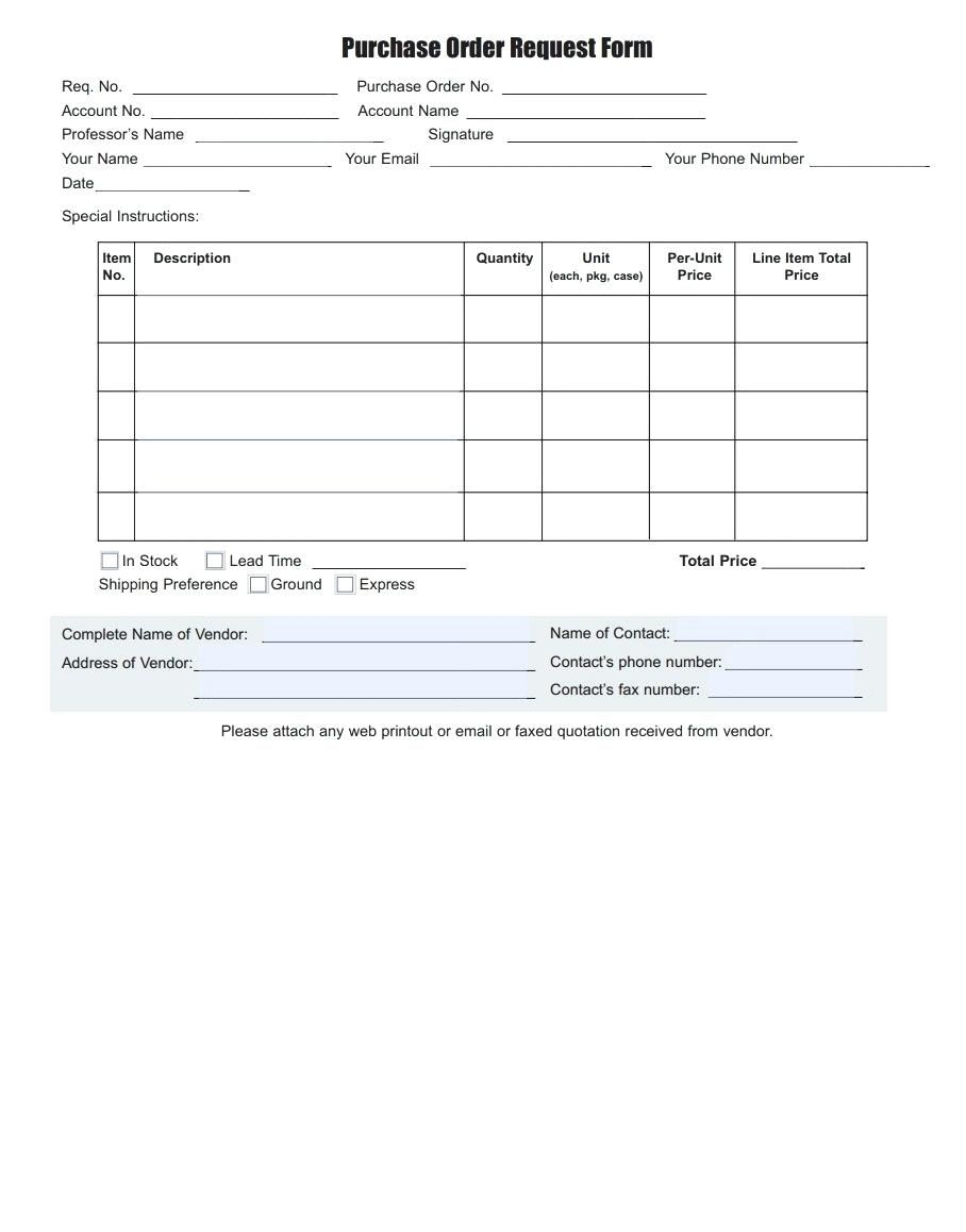Sample Purchase Order Template Excel Purchase Order Template Microsoft Word Free Templates