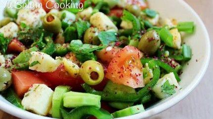 سلطة الحلوم المتوسطي ة Recipe Halloumi Salad Middle Eastern Recipes Salad
