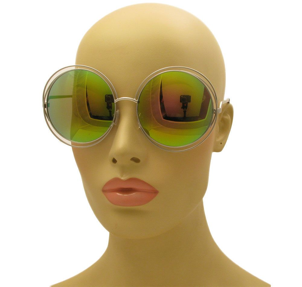 91c163d06d22e Oversized Big Round Double Wire Halo Bohemian Carlina Mirror Lens Sunglasses   AW  Round