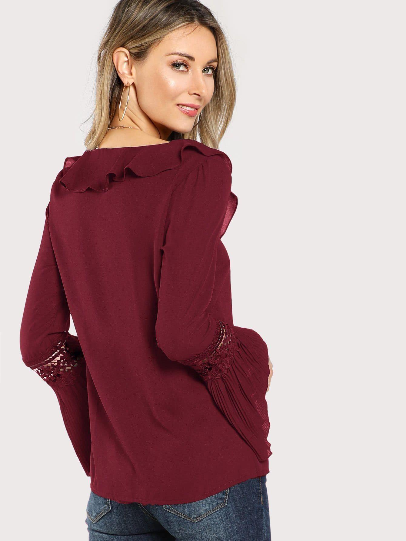 83921fa70c Ruffle Neck Lace Insert Pleated Cuff Top Lace#Neck#Ruffle | Styles ...