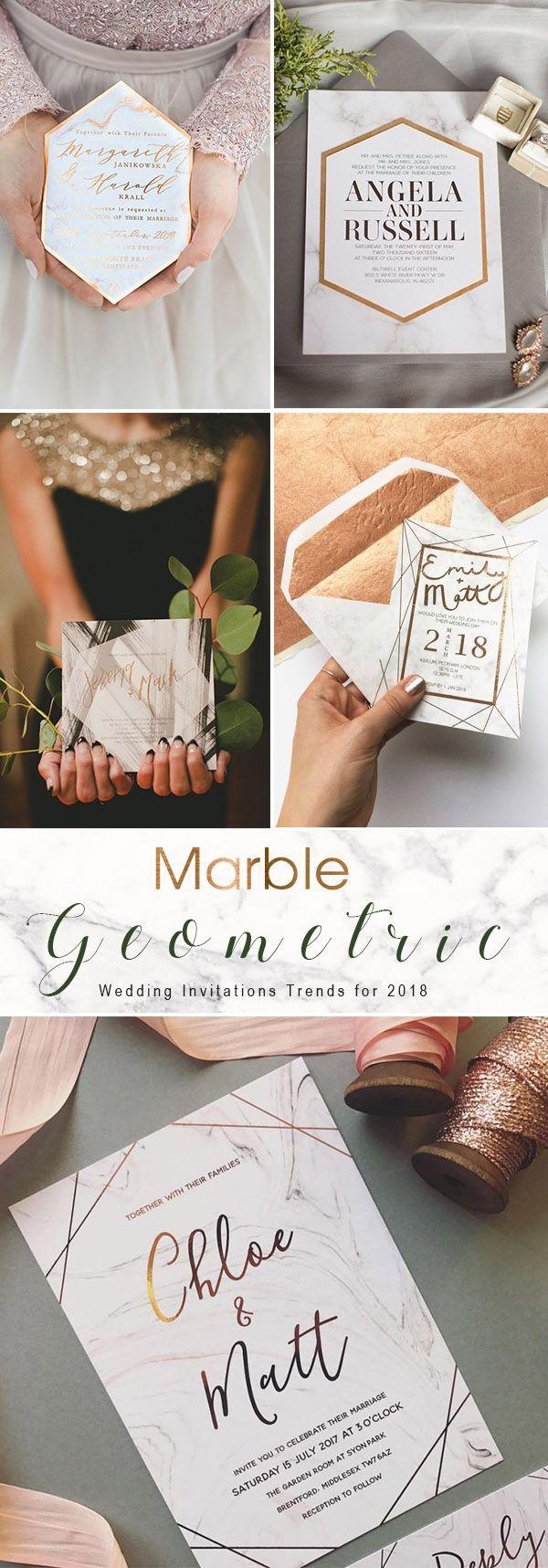 Marble inspired geometric modern wedding invitation ideas
