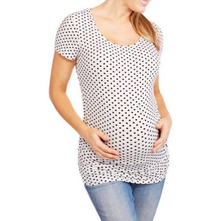 3b690ec0e8d Oh! Mamma Maternity cap sleeve polka top with ruched sides-- Available In Plus  Sizes, Black