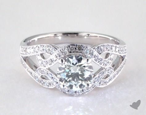 14K White Gold Wide Pave Interlocking Scroll Engagement Ring