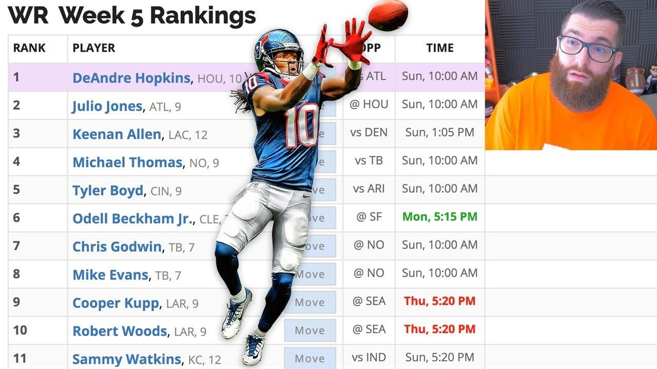 Weekly Fantasy Football Rankings Every Thursday Here Are My Week 5 Rankings For Each Position Fantasy Football Fantasy Football Rankings Football