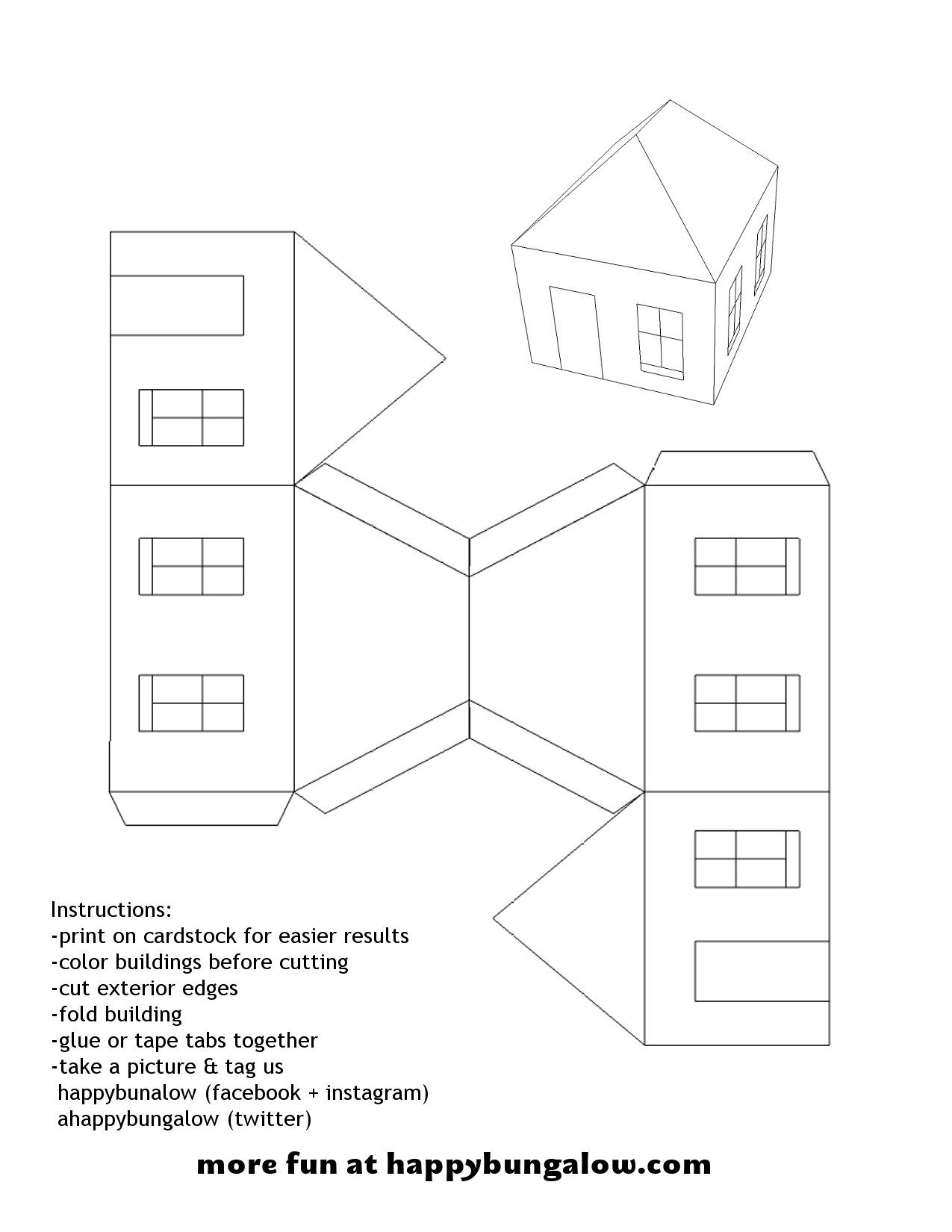 Paper House Template | Diy Paper House Template Happy Bungalow Diy Paper Craft Village