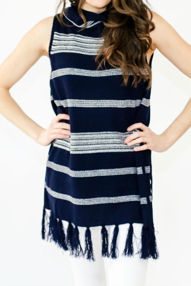 BB Dakota Sleeveless Stripe Turtleneck