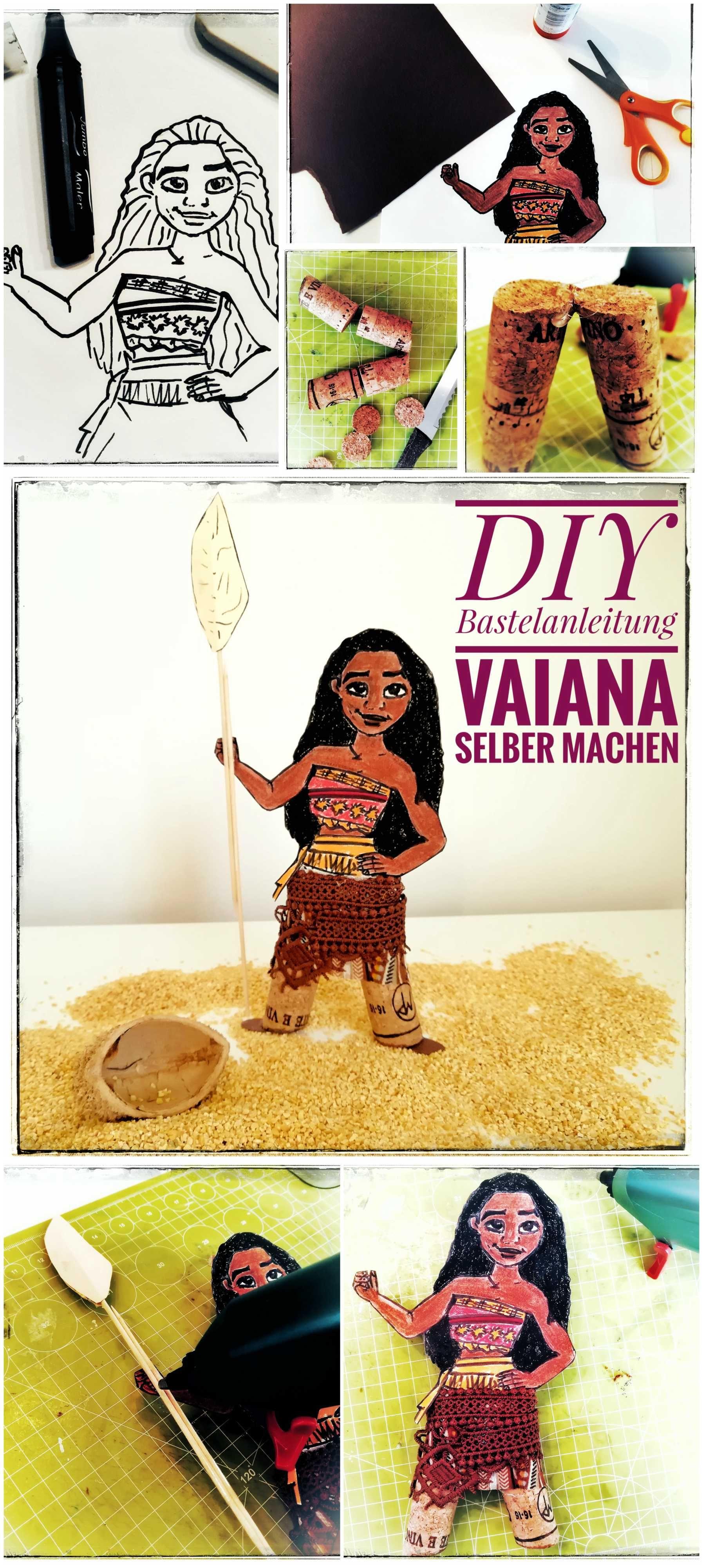 DIY Vaiana - einfache Upcycling Bastelidee Stoff, Korken, Holzspieße ...