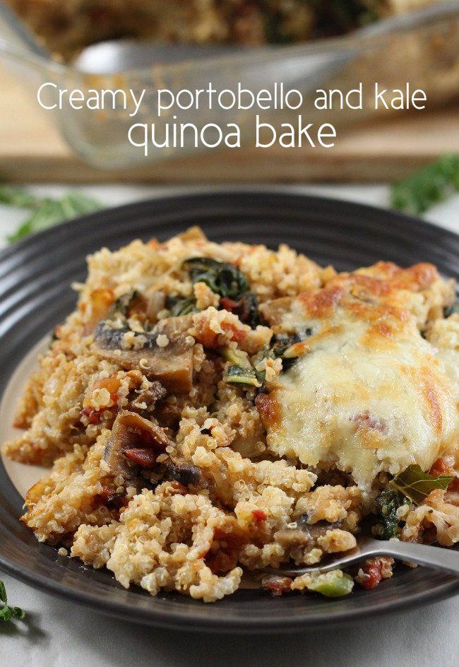 Creamy portobello and kale quinoa bake