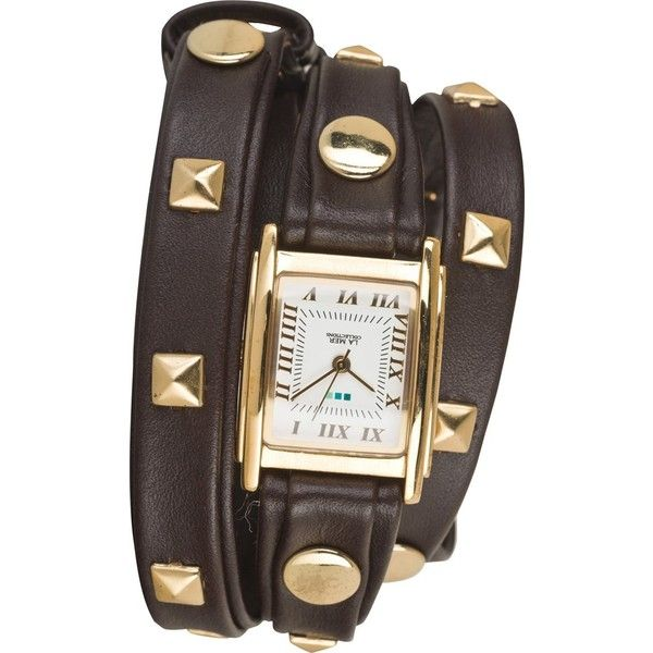 La mer chocolate pyramid wrap watch (£51) ❤ liked on Polyvore featuring jewelry, watches, accessories, bracelets, la mer jewelry, handcrafted jewelry, wrap watches, hand crafted jewelry and pyramid jewelry