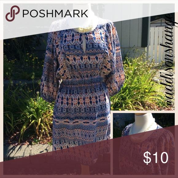 Tribal Print Dress sz10 H&M tribal print dress with sleeves. Thin material. Size 10. No trades. H&M Dresses