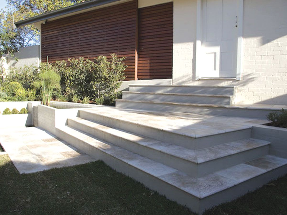Best Tumbled Noce Travertine Step Treads Risers Tiles 400 x 300