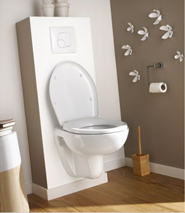 Déco toilettes taupe et blanc WC suspendu Ekodo | Déco toilettes, Wc ...