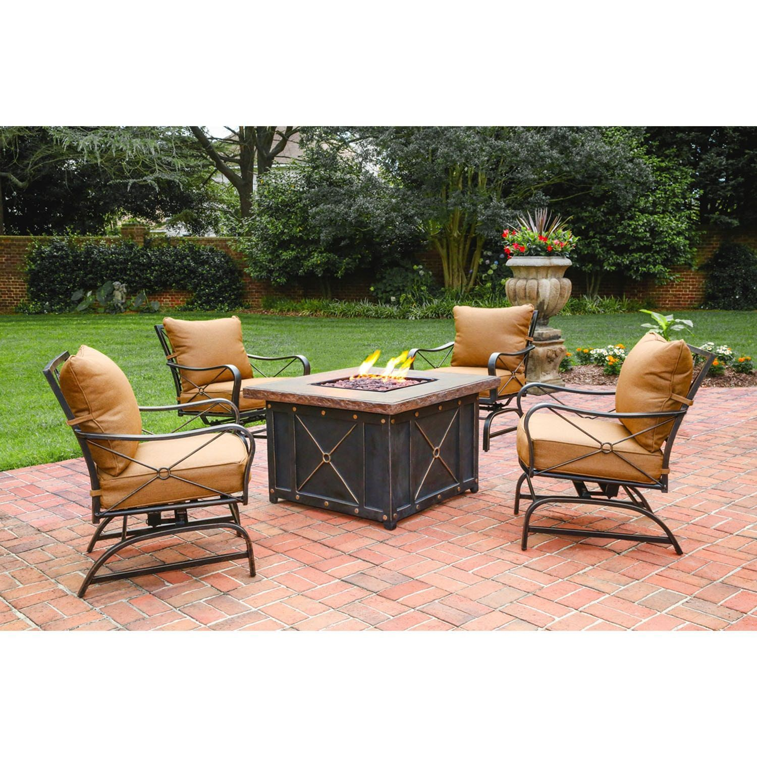 Cambridge Bradford Brown Metal 5 piece Lounge and Fire Pit Table