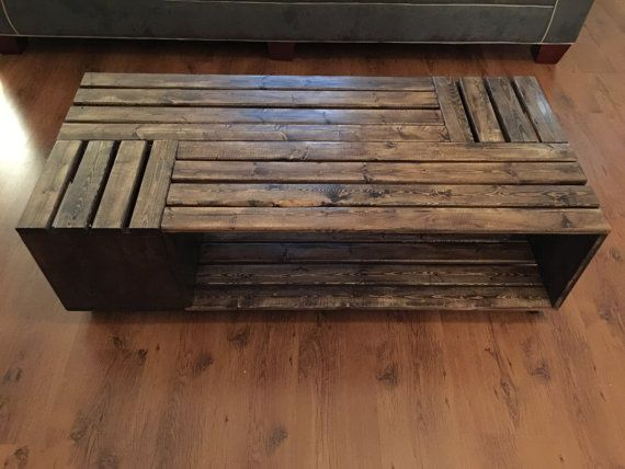 Crate Style Coffee Table Made With Hardwood Rectangular