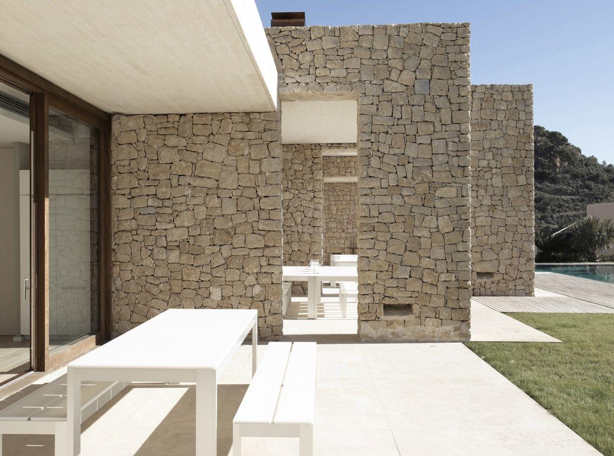 Patio Stone Walls Contemporary Home In Monasterios Spain