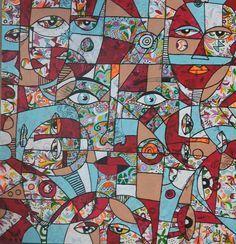 groot abstract schilderij mixed media - Google zoeken