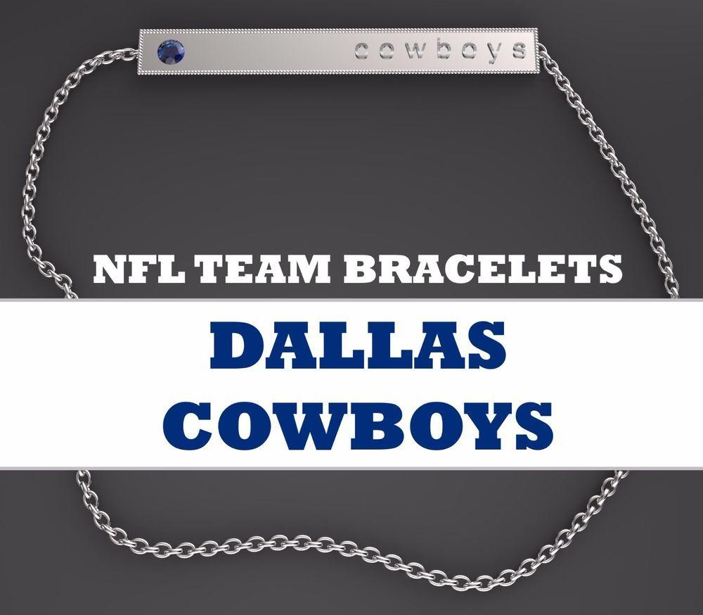 bd7b5dd06c7258 Womens NFL Jewelry Dallas Cowboys Fan Bar Bracelet Gold Plated Silver Blue  CZ  BarBracelet