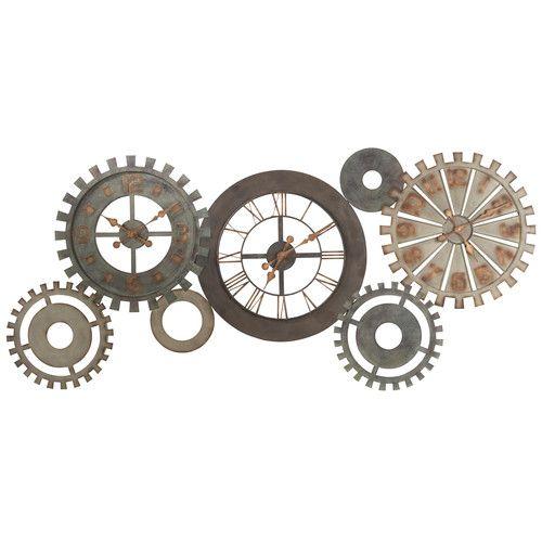 horloges rouages en métal patiné