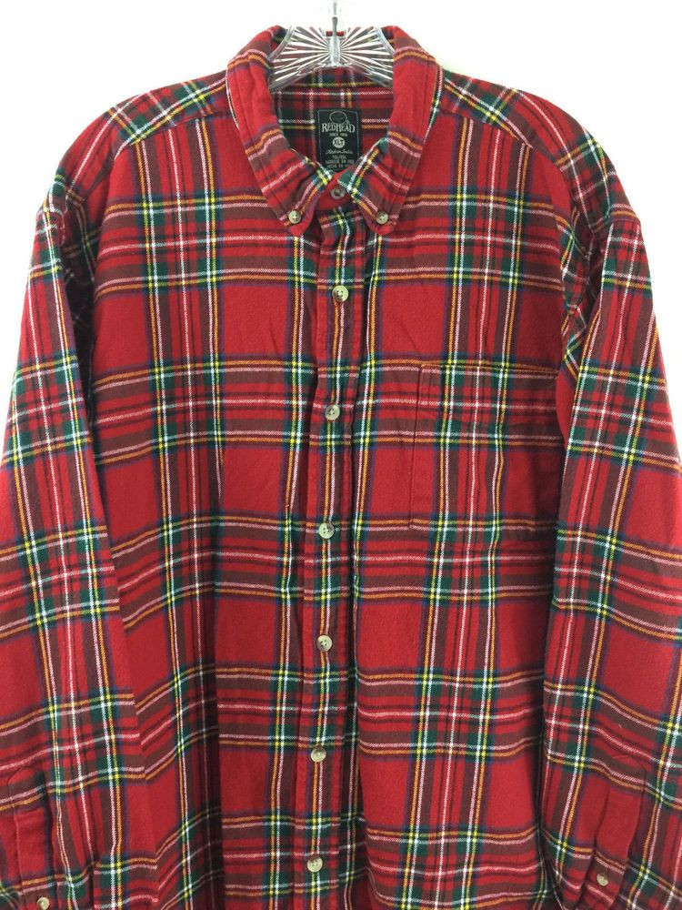 645a29e7 RedHead Mens Shirt XLT Tall Long Sleeve Button Down Red Flannel 100% Cotton  #RedHead #ButtonFront