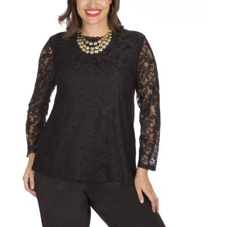 Need this in my closet for all those holiday parties! Plus Moda Women's Plus Lace Front Top