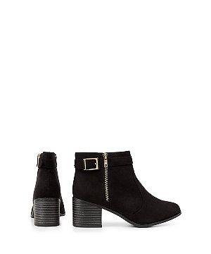 Wide Fit Black Suedette Comfort Block Heel Ankle Boots  | New Look