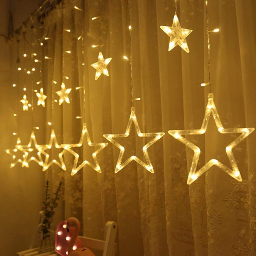 twinkle star 12 stars 138 led curtain string lights, window curtain