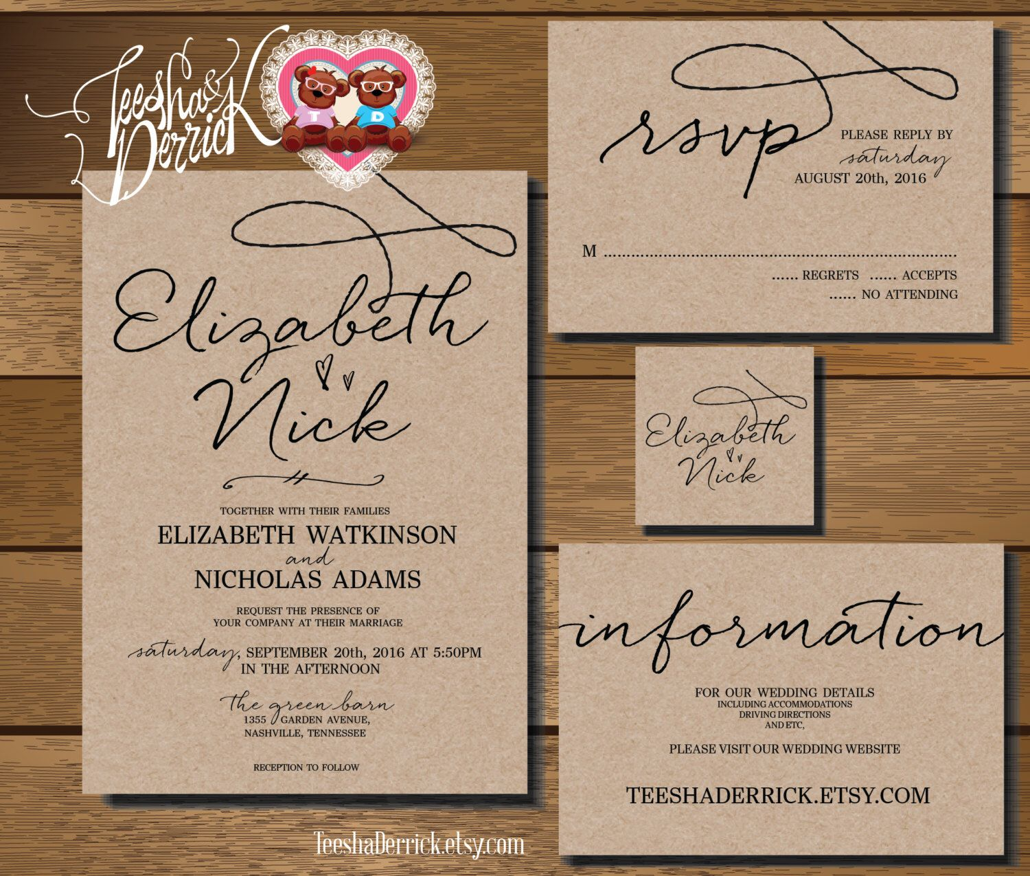 Custom Printable Wedding Invitation Suite (w0210