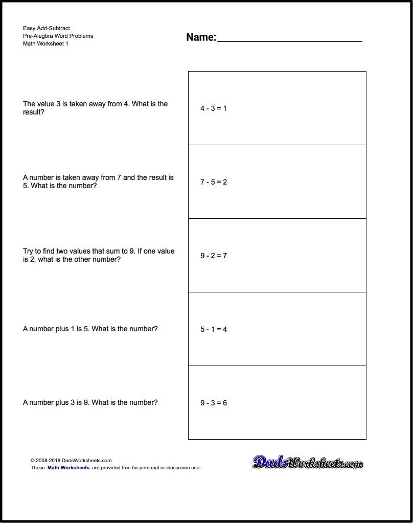 Subtraction Worksheets math addition subtraction worksheets : Add and Subtract Pre-Algebra Word problems that use standard math ...