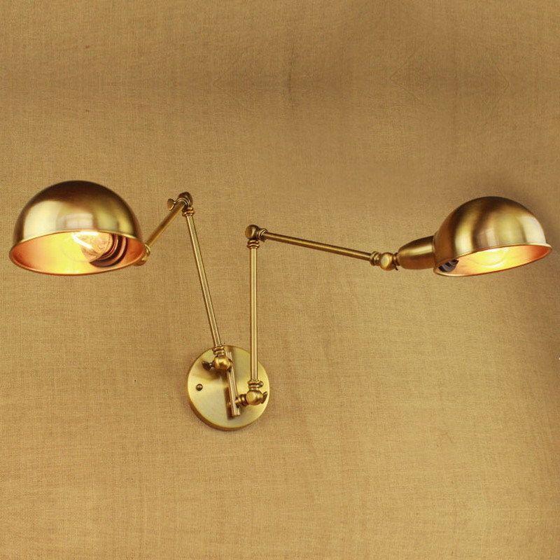 Vintage Design Luxury Brass Gold Double Head Swing Arm Edison Lamp E27 Led  Adjustable Metal Wall
