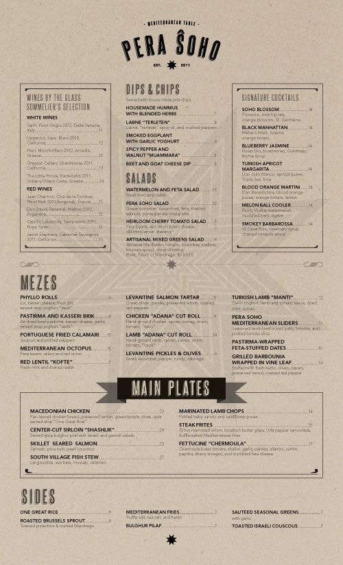 Art of the Menu Pera Soho Branding \/\/ Restaurant Pinterest - restaurant menu design templates
