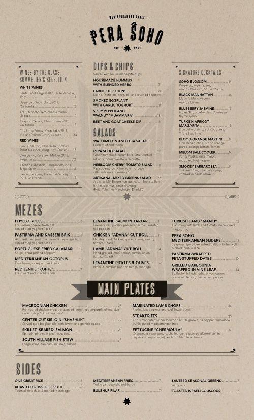 Art of the Menu: Pera Soho | Branding // Restaurant | Menu