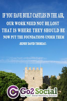 If you have built a castles in the air, our work need not be lost, that is where they should be. Now put the foundations under them - Henry David Thoreau