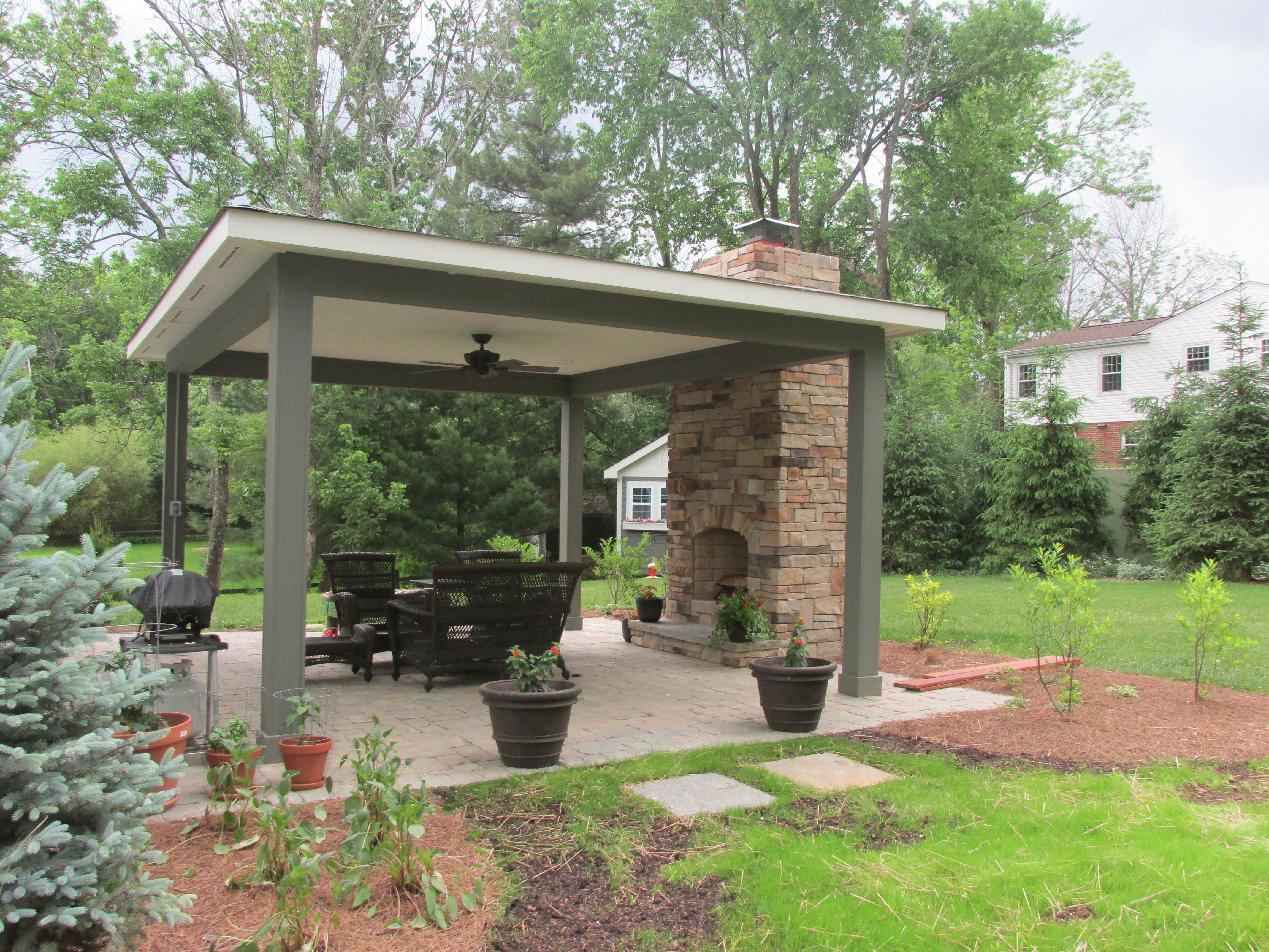 Fireplace Covered Pavilion And Patio With Small 400 x 300