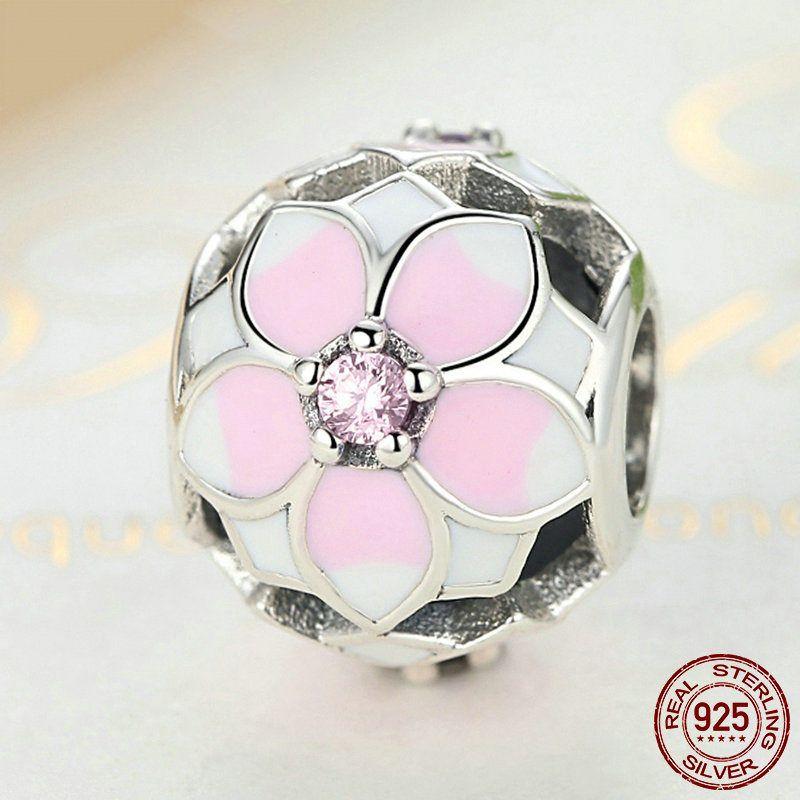 Fiore di Magnolia rosa con CZ e smalto rosa 100% argento ...