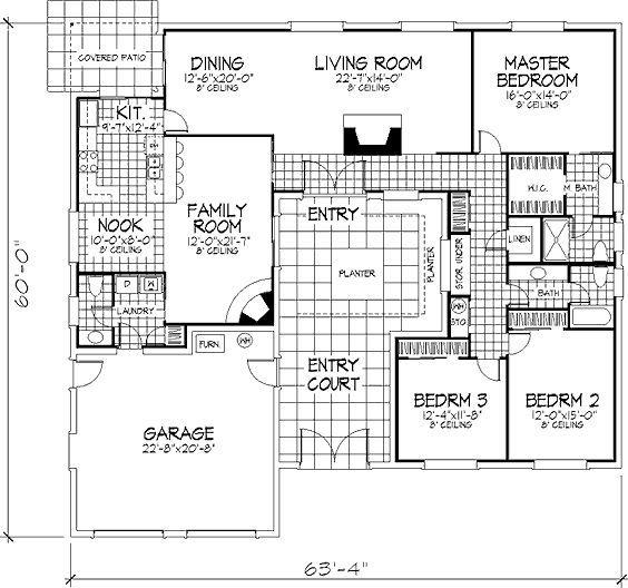 Mediterranean Style House Plan - 3 Beds 250 Baths 2377 Sq/Ft Plan