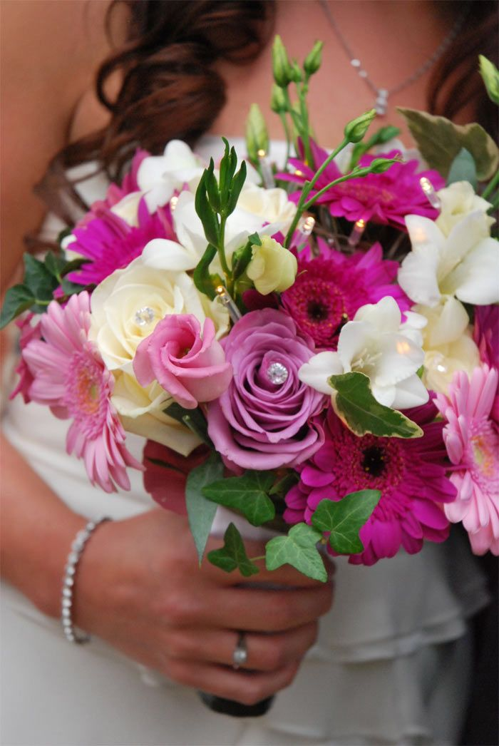 Wedding bouquet of flowers with floral battery lights