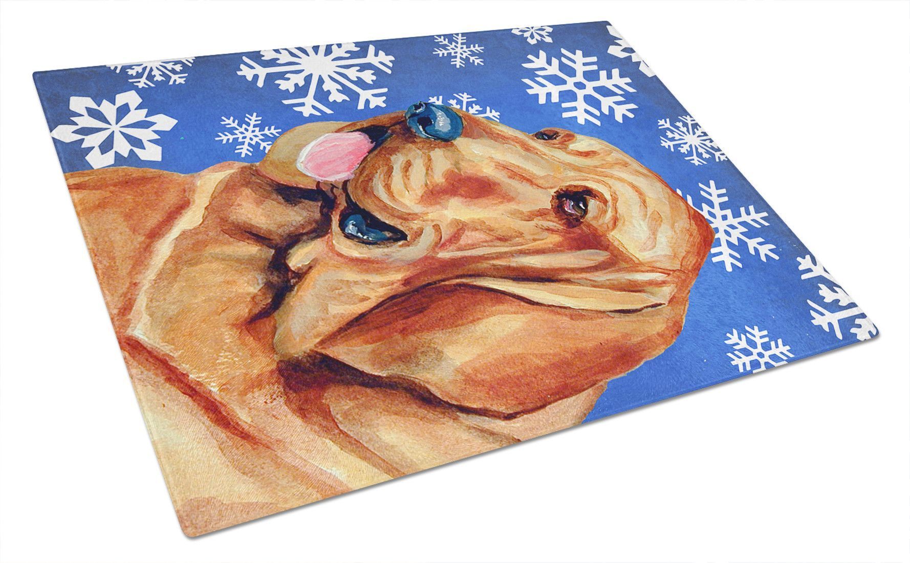 Bloodhound winter snowflakes holiday glass cutting board