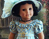 BLUE BIRDS 1824 Romantic Regency Era Gown Headdress Fits Josefina