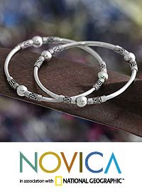 Sterling silver bangle bracelets, 'Ubud Moons' (pair) at The Animal Rescue Site