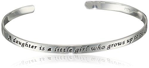 "Sterling Silver ""A Daughter Is A Little Girl Who Grows Up To Be A Friend"" Cuff Bracelet #deals"