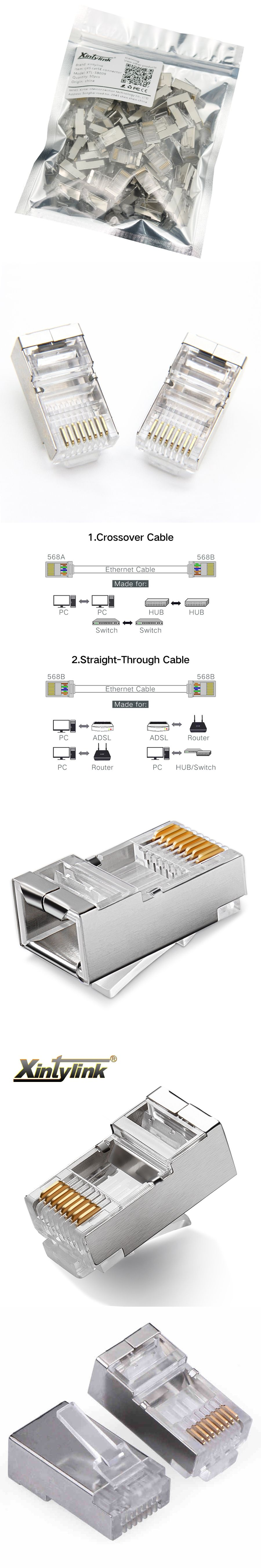 50pcs Rj45 Connector Cat5 Cat5e Network 8p8c Metal Ether Crossover Cable Diagram Further Also Cat 5 Shielded Modular Plug Terminals For Utp