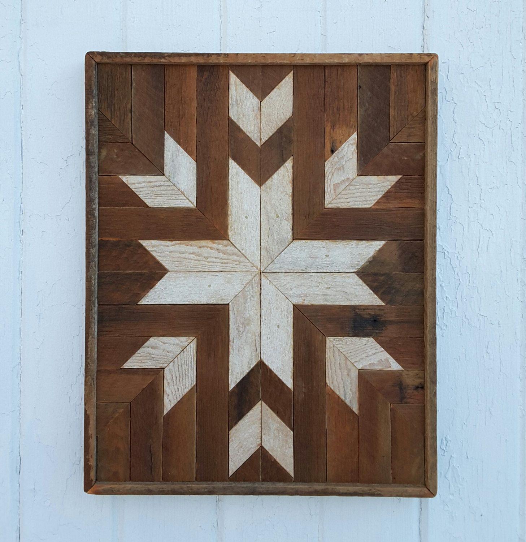 Reclaimed wood wall art wood wall decor diamonds star natural