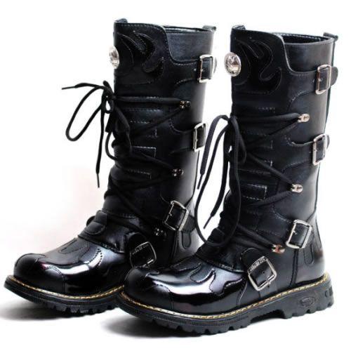 Fashion Riding Cyber Men Punk Black High Goth Cowboy Knee fb76gYvIy