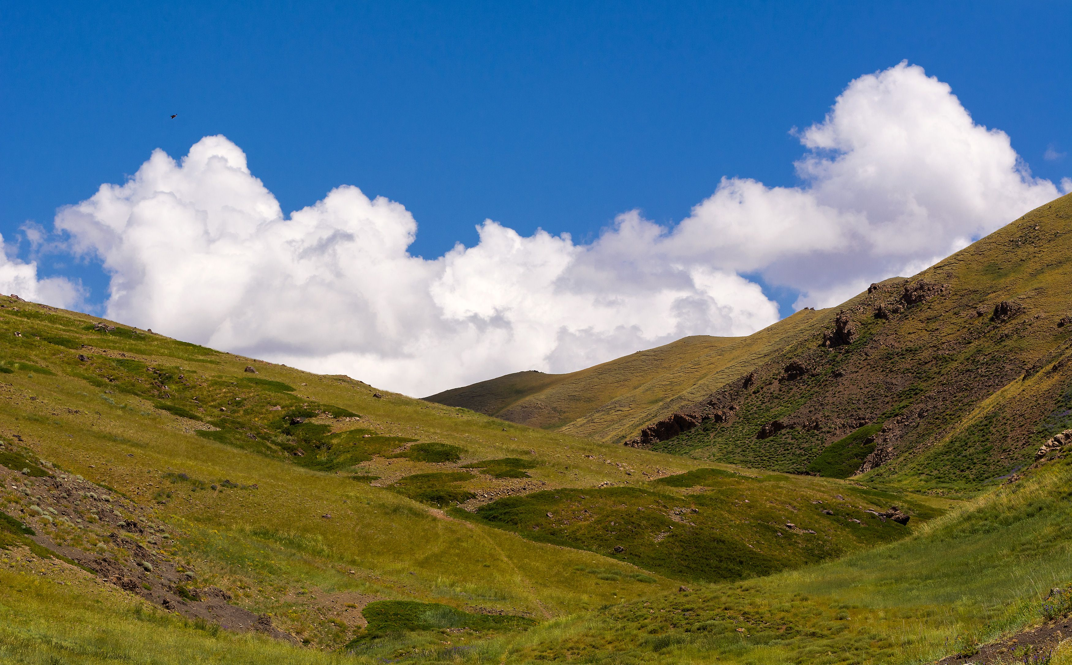 The Landscape Of The Green Hills With Cloudscape Landscape Image Free Images