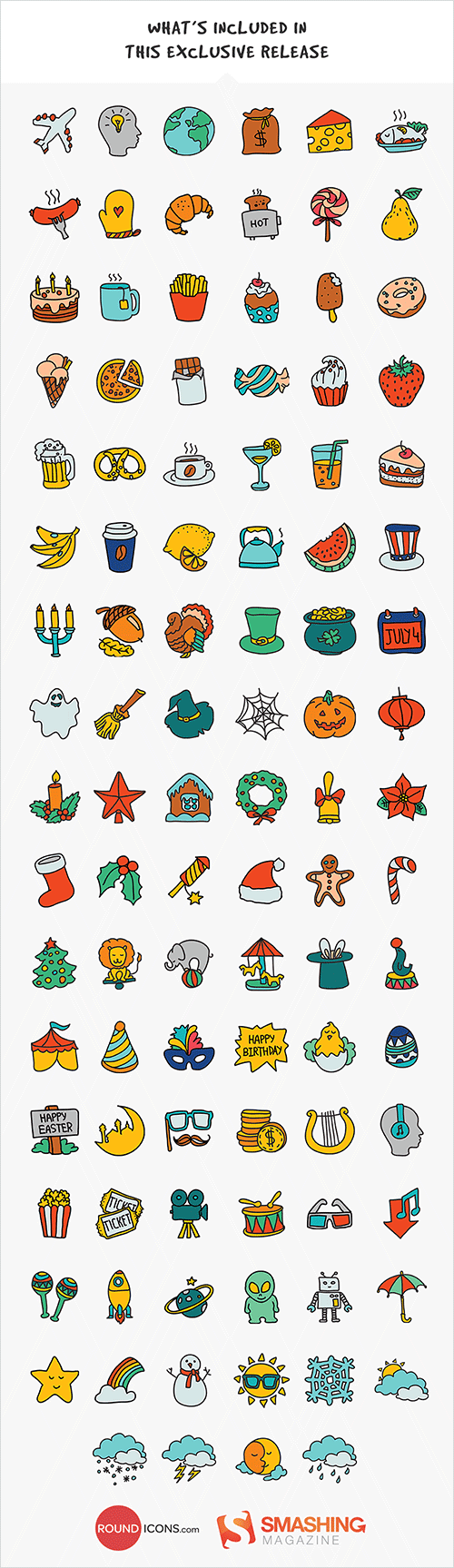 Free Hand-Drawn Doodle Icon Set (100 Icons, PNG, PSD, SVG)