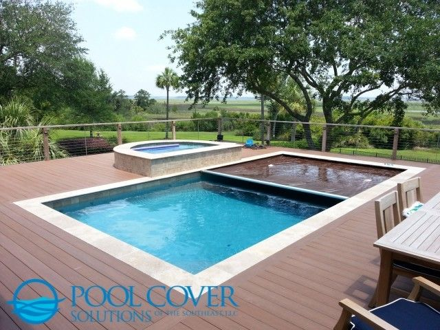 Wood Deck Automatic Pool Cover And Spa Cover Kris Windmueller Brown Automatic Pool Cover Integrated With Pool And Spa C Automatic Pool Cover Pool Cover Pool