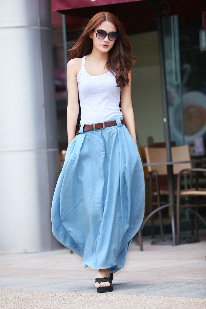 Romantic Light Blue Pretty Linen Bud Long Maxi Skirt - NC335 ...