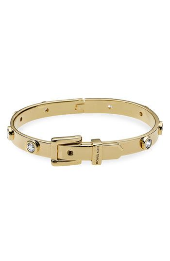 Love this Michael Kors Cubic Zirconia Buckle Bangle in silver or gold! $125