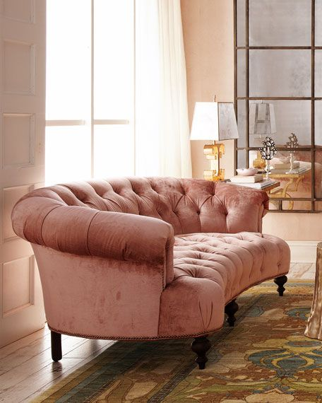 Everett Tufted Leather Settee In 2019: Old Hickory Tannery Brussel Blush Tufted Sofa
